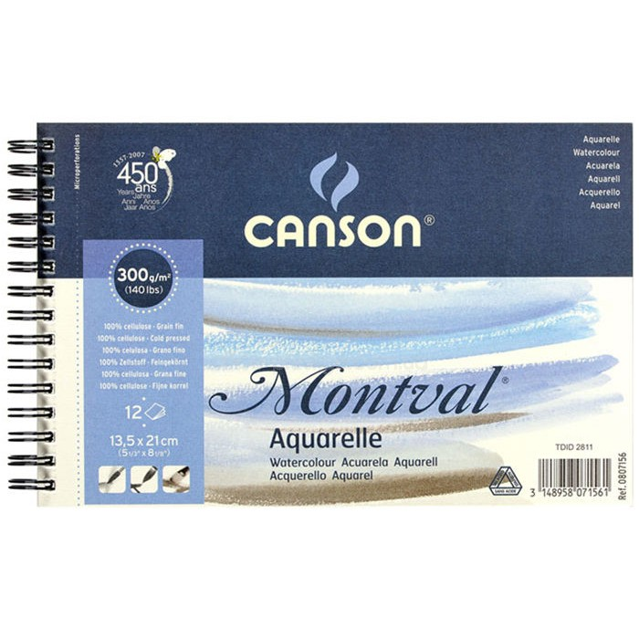 Альбом для акварели CANSON Монваль Фин 13.5х21см 300гр/м 12л, спираль