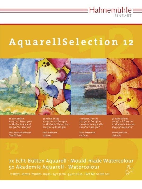Альбом для акварели HAHNEMUHLE AqurellSelection 24х32 см 12 видов бумаг, склейка