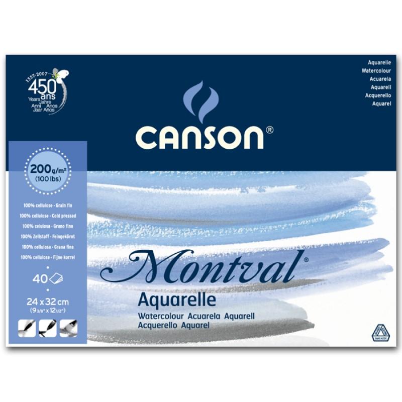 Альбом для акварели CANSON Монваль Фин 24х32см 200гр/м 40л, склейка