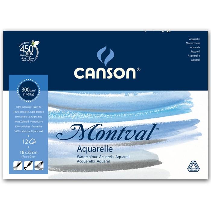 Альбом для акварели CANSON Монваль Фин 18х25см 300гр/м 12л, склейка