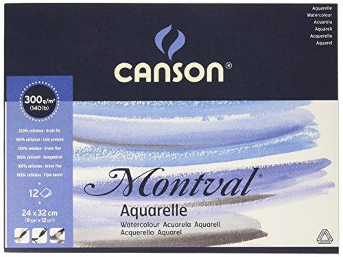 Альбом для акварели CANSON Монваль Фин 24х32см 300гр/м 12л, склейка