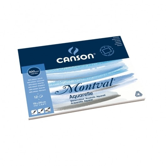 Альбом для акварели CANSON Монваль Фин 19х24см 300гр/м 12л, склейка