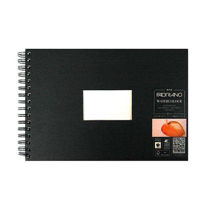 Альбом д/акварели FABRIANO А4 300 гр/м, 25 л, черная обложка, спираль