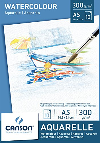 Альбом для акварели CANSON Aquarelle А5 300гр/м 10л, склейка