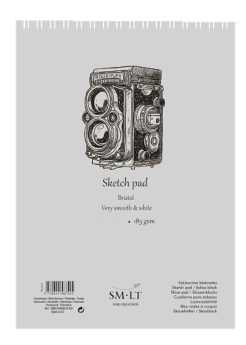 Альбом для графики SM-LT Bristol экстрабелая бумага А5 185гр 30 л, спираль