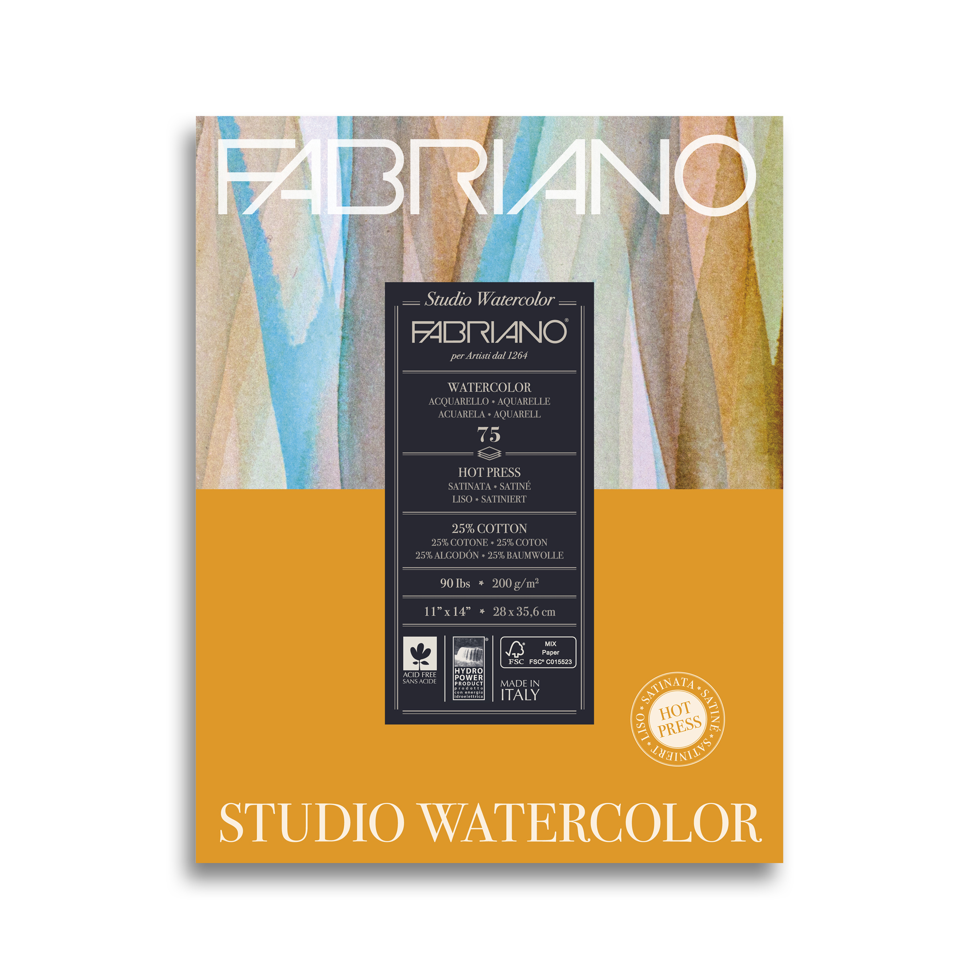 Альбом для акварели FABRIANO Watercolour 28*35,6см 25%хл сатин 200 гр/м, 75 л, склейка