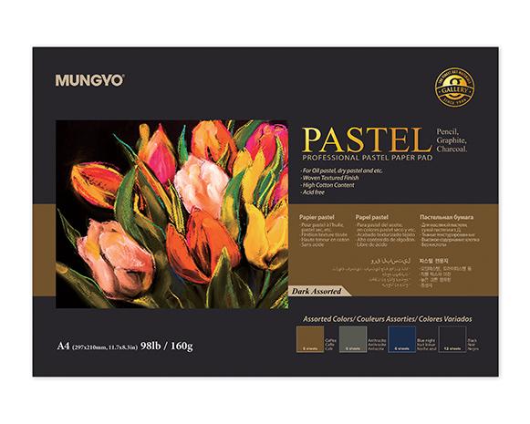 Альбом для пастели MUNGYO А3, 4 темных цвета, 160 гр/м2, 20 л., склейка